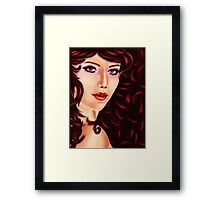 Woman with curly red hair Framed Print
