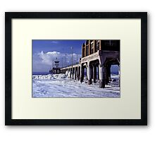 Huntington Beach Pier, Long Ago Framed Print