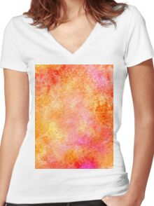 Orange Paint Background 3 Women's Fitted V-Neck T-Shirt
