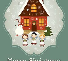 Little Carolers Christmas Card - Holiday Saying by solnoirstudios