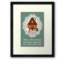Little Carolers Christmas Card - Holiday Saying Framed Print