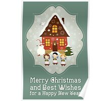 Little Carolers Christmas Card - Holiday Saying Poster
