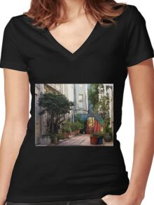 Beauty in the Gray -- San Francisco, Powell Street Stroll Women's Fitted V-Neck T-Shirt