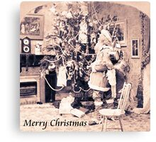 Vintage Santa Card Canvas Print