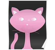 Pink Kitty on Black Poster