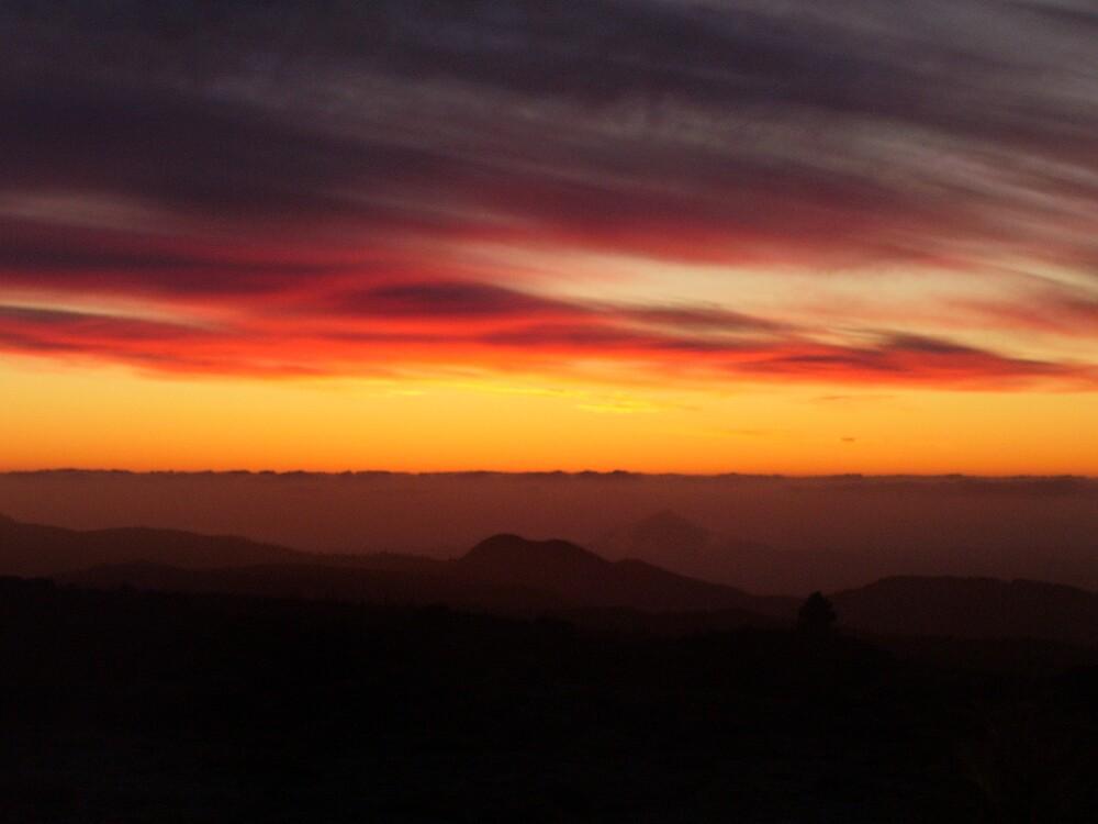 fiery sunset on Mt Read, Tasmania by gaylene