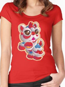 Cute Lion Dancer Women's Fitted Scoop T-Shirt