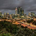 Perth city at night by BigAndRed