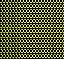 Yellow Black Dot Grid by Sookiesooker