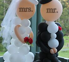 Wedding Humour Balloon Bride and Groom by Alison  Eno