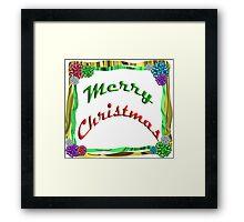 Merry Christmas Holiday Greeting Ribbon and Bows Border Framed Print