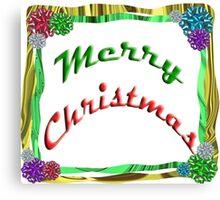 Merry Christmas Holiday Greeting Ribbon and Bows Border Canvas Print