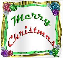 Merry Christmas Holiday Greeting Ribbon and Bows Border Poster