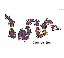 """LGBTQ+ Benjamin Franklin """"Join or Die"""" Parody Photographic Print"""