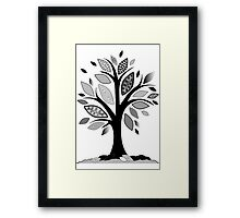 Black and White Graphic Tree Framed Print