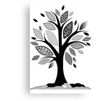 Black and White Graphic Tree Canvas Print