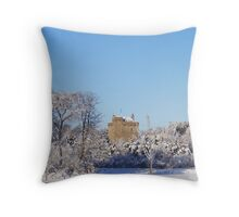 Mains Castle, East Kilbride, Scotland in the snow Throw Pillow