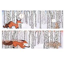 A Winter Race, Rabbit and Fox Photographic Print