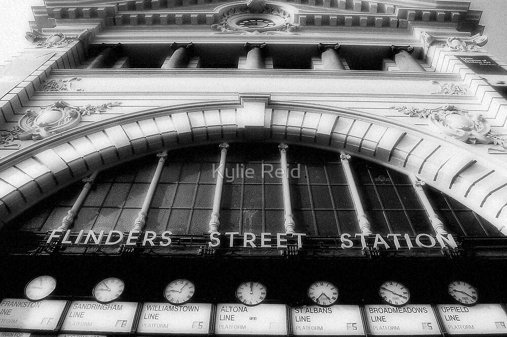 Flinders Street (in black & white) by Kylie Reid