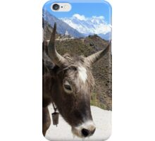 Mt. Everest and Ama Dablam between the horns of a yak by Roi Brandeis iPhone Case/Skin