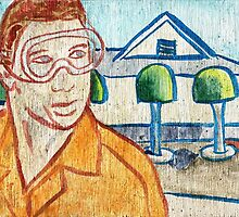 Man with Safety Goggles in Front of Well-Maintained Home by El Rey