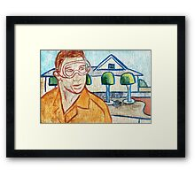 Man with Safety Goggles in Front of Well-Maintained Home Framed Print