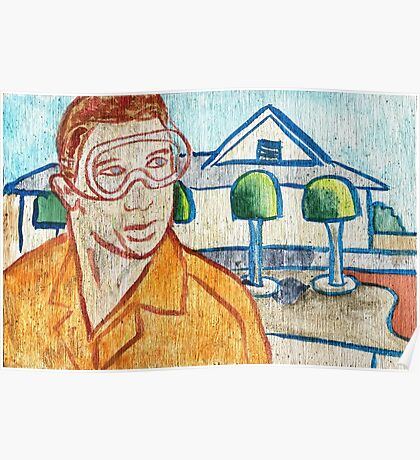 Man with Safety Goggles in Front of Well-Maintained Home Poster
