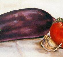aubergine-tomatoe-garlic by Rineke de Jong