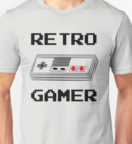 Retro Gamer with Controller Unisex T-Shirt