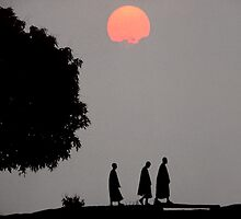Monks At Sunset, Angkor by MarkStanden