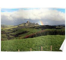 Rainbow over Taratara-Whangaroa Poster