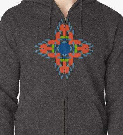 Sunny Geometric Flame Flower Zipped Hoodie