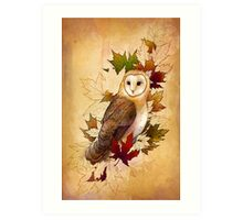 Autumn Barn Owl and Maple Leaves Art Print