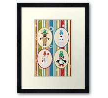 Winter Friends Pattern Framed Print