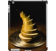 Sliced pear on the silver plate iPad Case/Skin