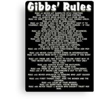 Gibbs' Rules - White Version Canvas Print
