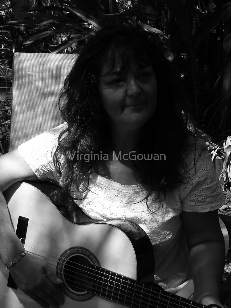 Girl in a Garden with guitar Barbara Anne by Virginia McGowan