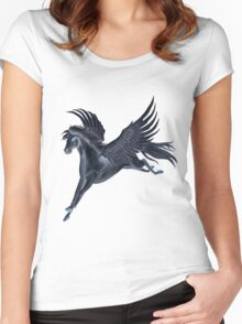 Black Pegasus Flying Women's Fitted Scoop T-Shirt