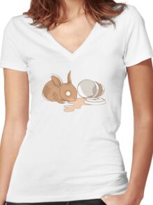 Coffy Rabbit Women's Fitted V-Neck T-Shirt