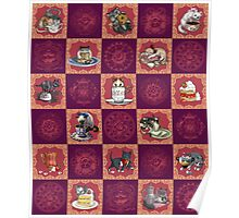 Kitten Tea Party Blocks Alternating with Baroque Medallions Poster