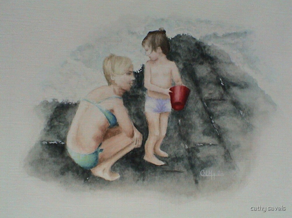 Me and mum at the seaside by cathy savels