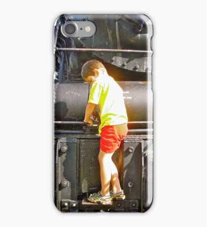 Austyn on the Steam Engine at the Museum of Science and Technology iPhone Case/Skin