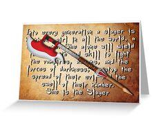 Buffy Slayer Scythe Greeting Card