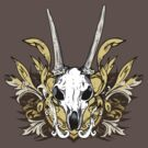 Goat Skull and Engraved Floral Detail by Denis Marsili