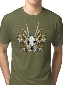 Goat Skull and Engraved Floral Detail Tri-blend T-Shirt