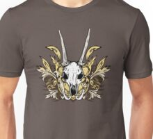 Goat Skull and Engraved Floral Detail Unisex T-Shirt