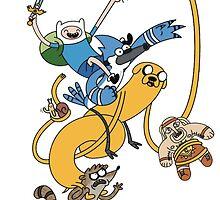 Finn, Jake, Mordecai & Rigby by MonHood