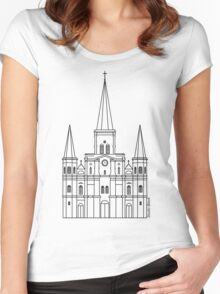 St. Louis Cathedral (Black) Women's Fitted Scoop T-Shirt