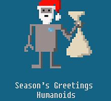 Pixel Art Robo Santa - Season's Greetings Humanoids - Geek Christmas by Amber Elen-Forbat