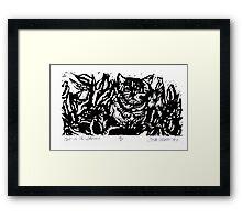 Cat in the Flowers Framed Print